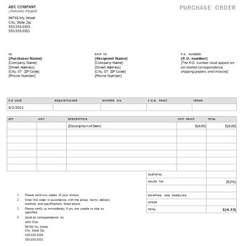 Purchase Order sample 29.64