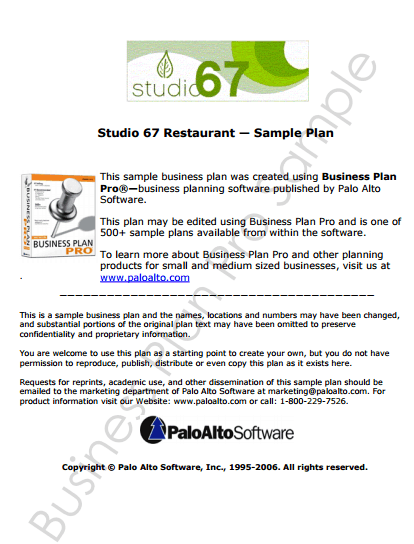 Restaurant Business Plan Template 49741