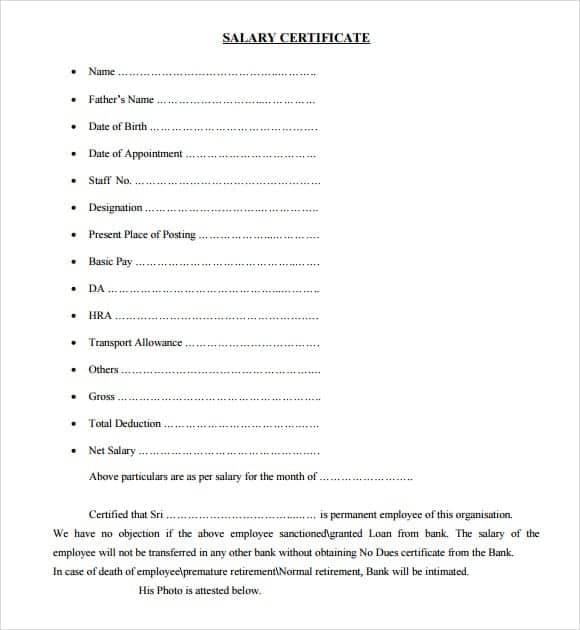 Salary Certificate sampe 1164