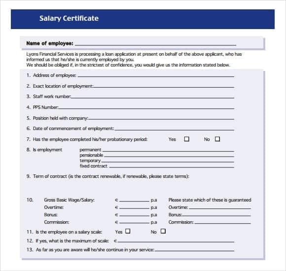 Salary Certificate sampe 541