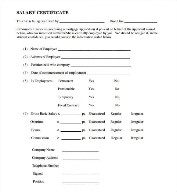 Salary Certificate sampe 6941