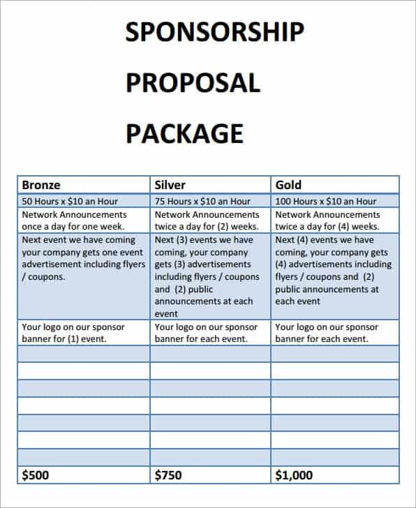 Sponsorship Proposal sample 10.461