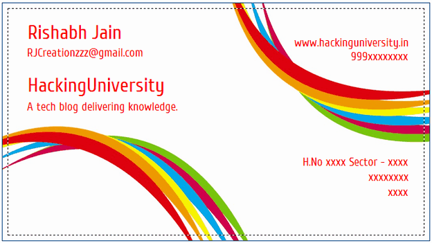 Visiting Card example 26.94