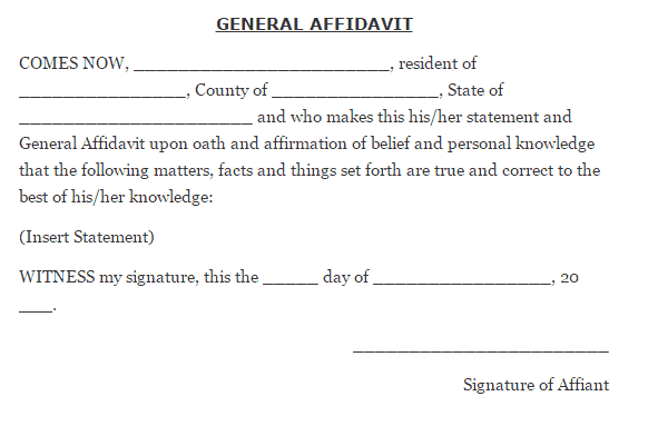 affidavit form template 79641