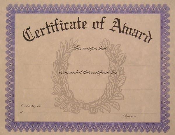 award certificate sample 1574