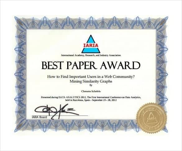 award certificate sample 3941