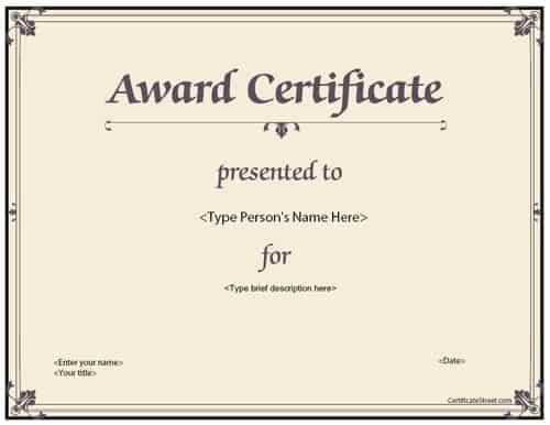 award certificate sample 5741