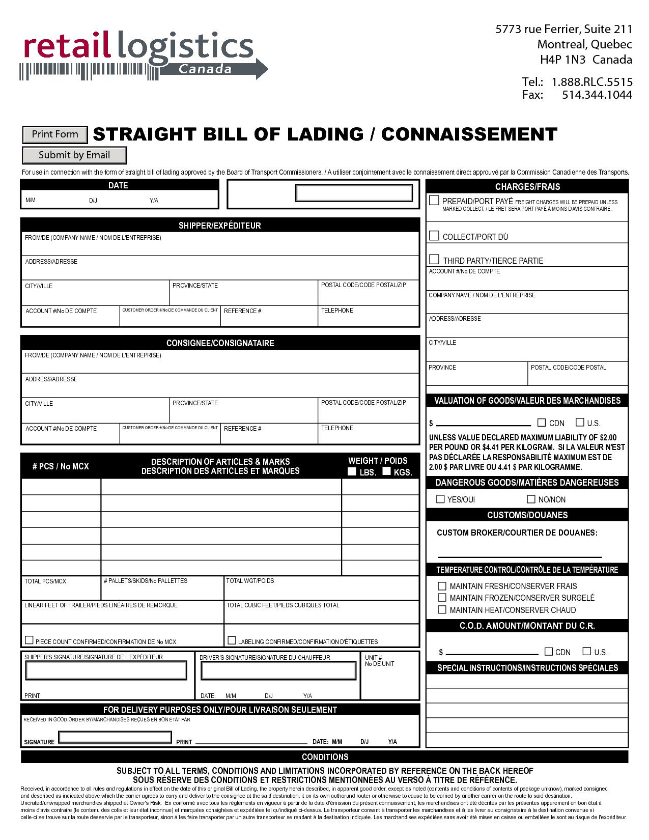bill of lading sample 16.94