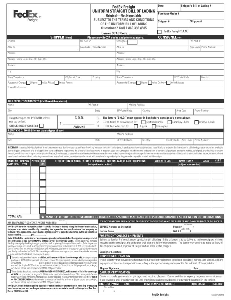 bill of lading sample 69741