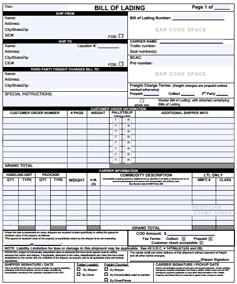 bill of lading template 39461