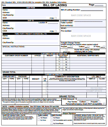 bill of lading template 494