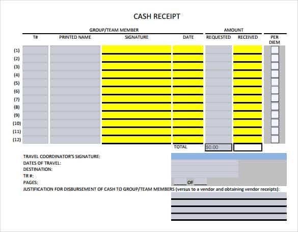 cash receipt template 5941