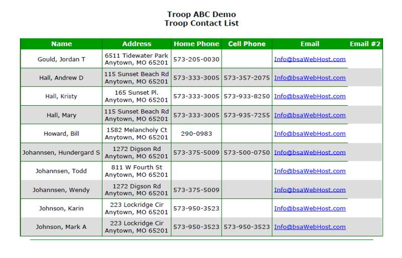 contact list sample 5741