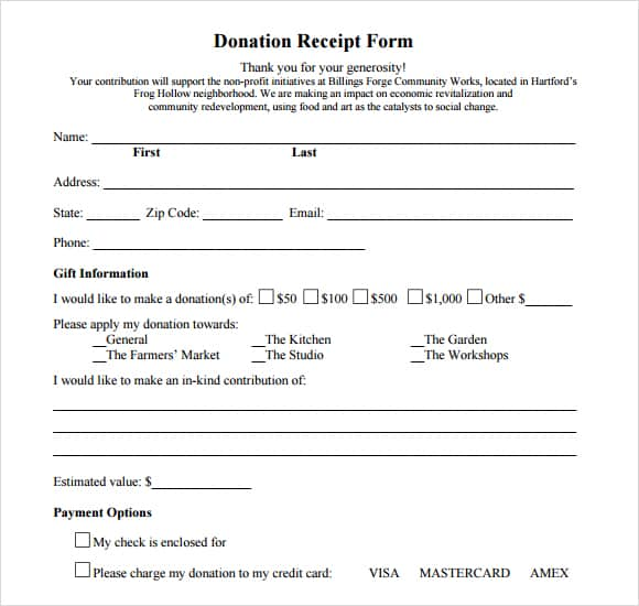 donation form example 3941