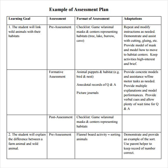 free assessment example 761