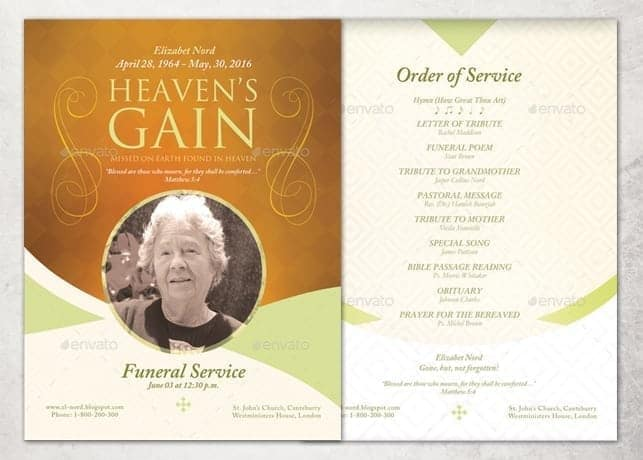 Free Microsoft Publisher Funeral Order Of Service Template