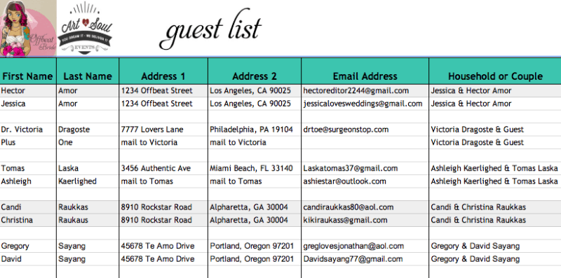 guest list example 10