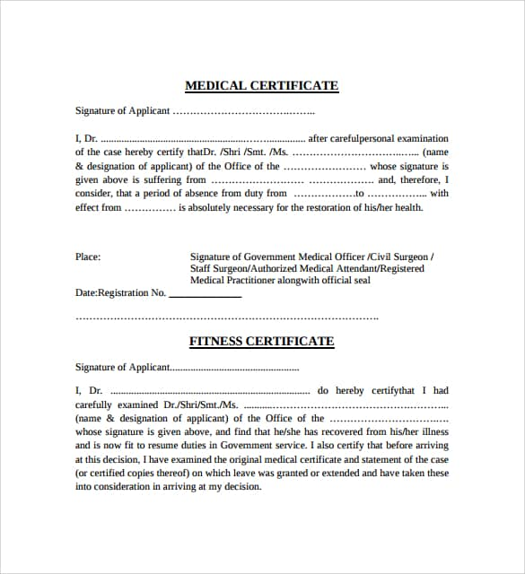 medical certificaet example 11.941