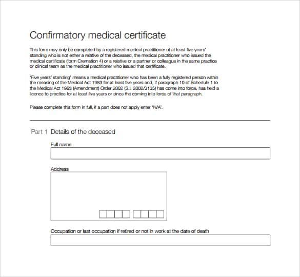 medical certificaet example 19.641
