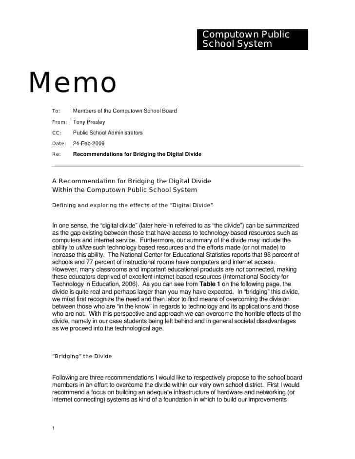 memo sample 49741