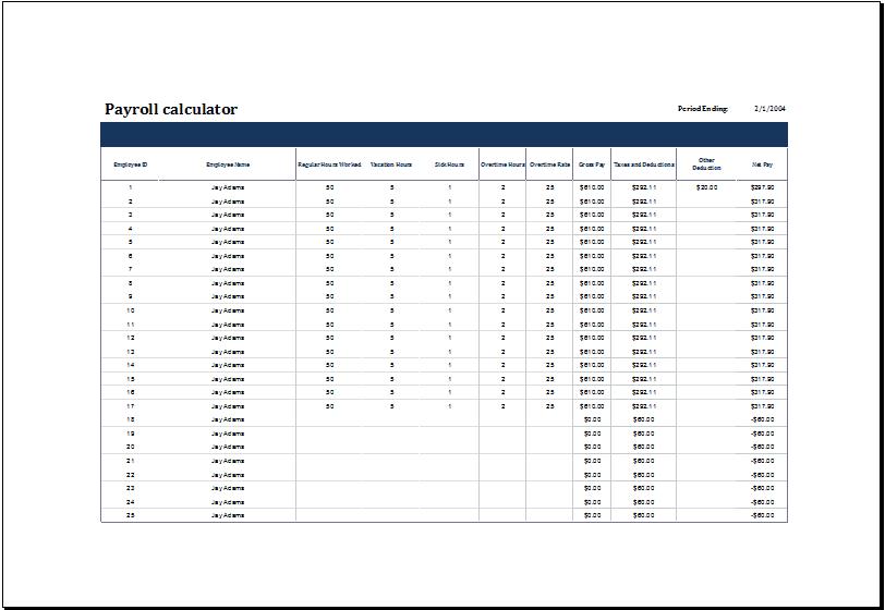 payroll template 5941