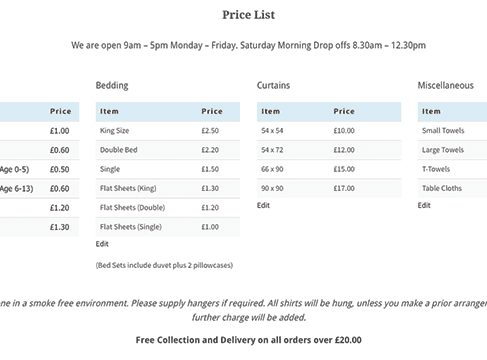 price list sample 10.461