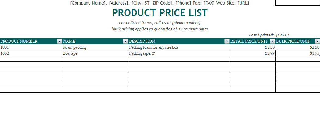 price list sample 18.641