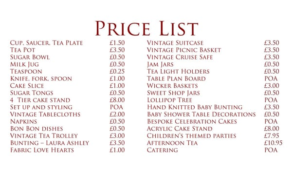 price list sample 5946