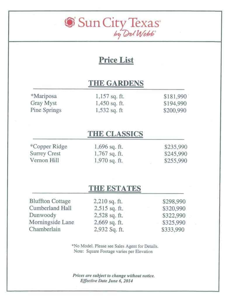 price list sample 87946