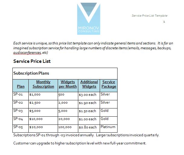 price list template 1244