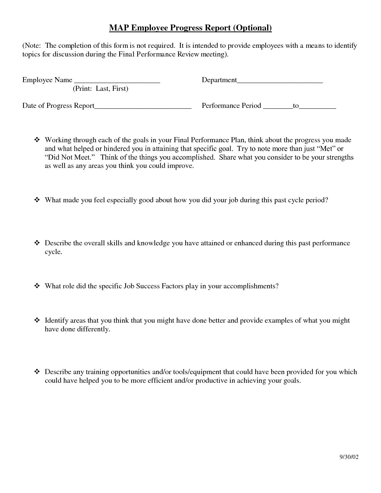 progress report sample 71