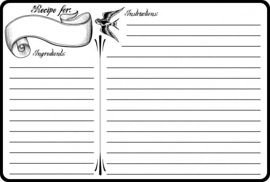 recipe card sample 2946