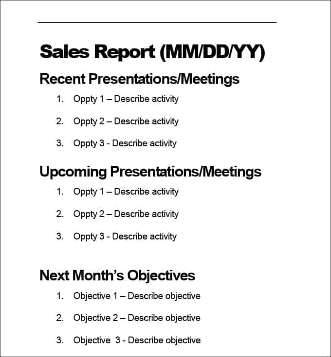 sales report sample 5941