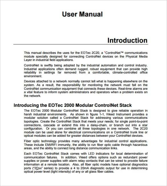 user manual sample 15.461