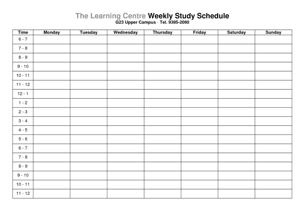 weekly schedule sample 15.641