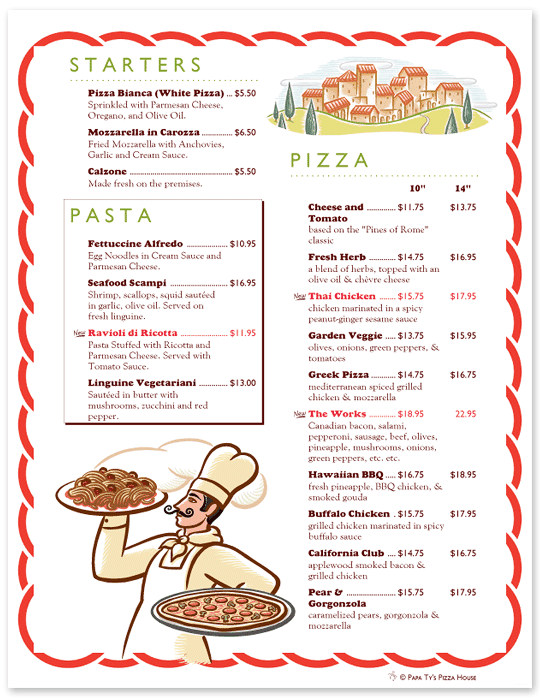 Free Restaurant Menu sample 12.61