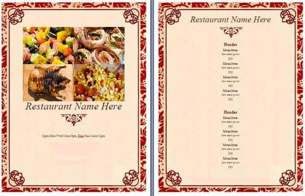 Free Restaurant Menu sample 14.461