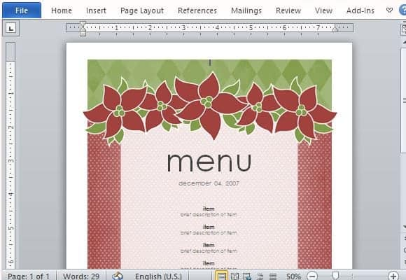 Free Restaurant Menu sample 16.64