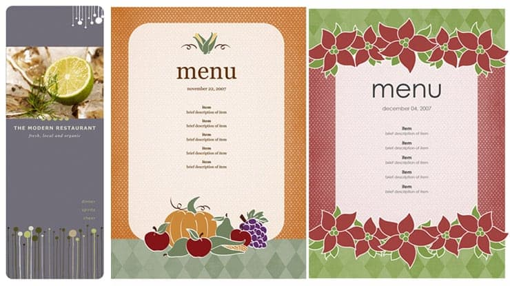 Free Restaurant Menu sample 69641