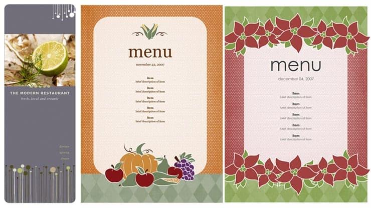 Free Restaurant Menu sample 69641