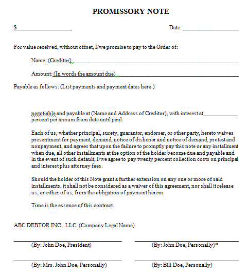 Promissory Note Template 541