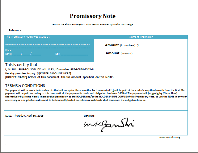 Promissory Note sample 13.41
