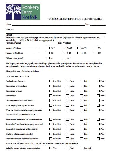 Satisfaction Survey Template 541