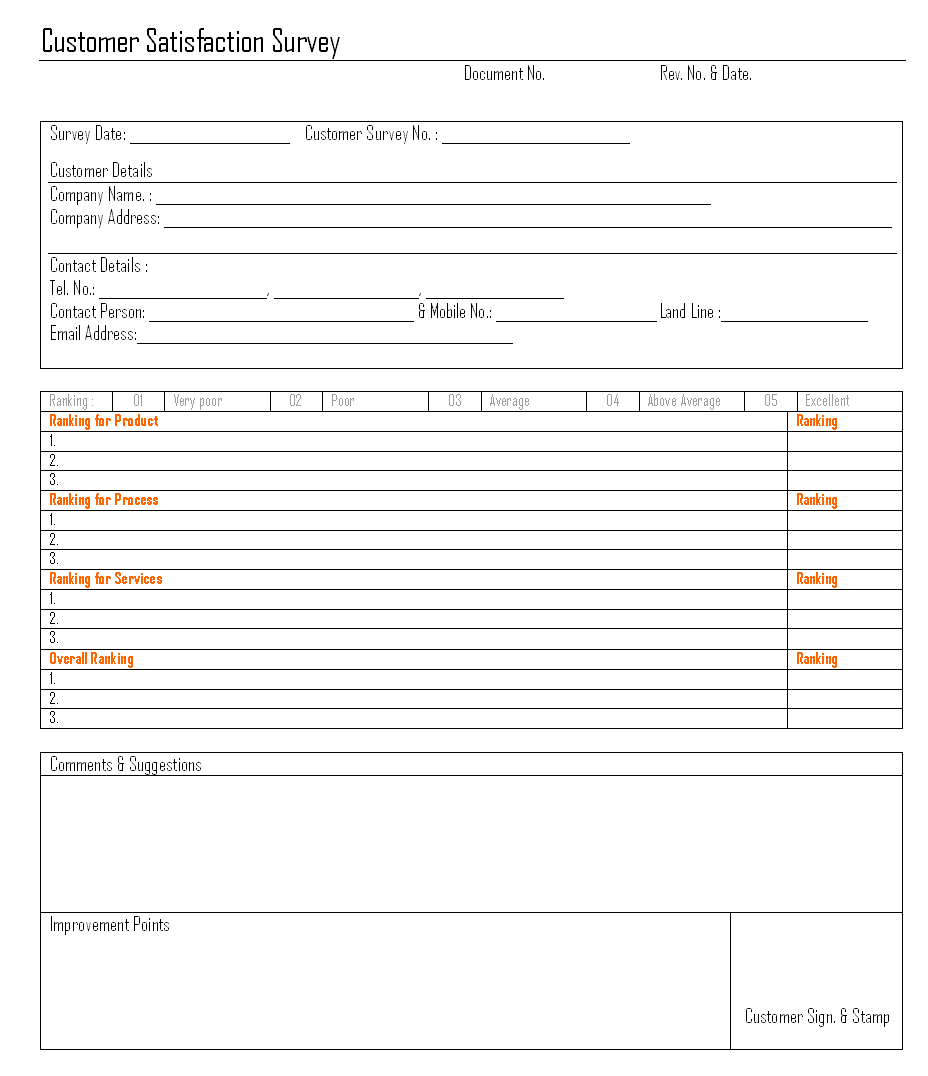 Satisfaction Survey sample 1461