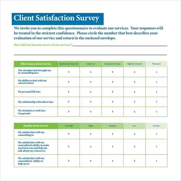 Satisfaction Survey sample 8941