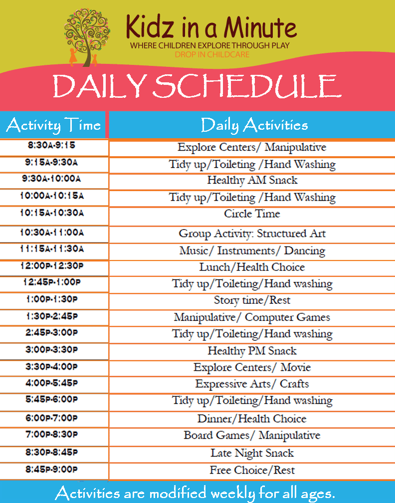 daily schedule sample 15.46