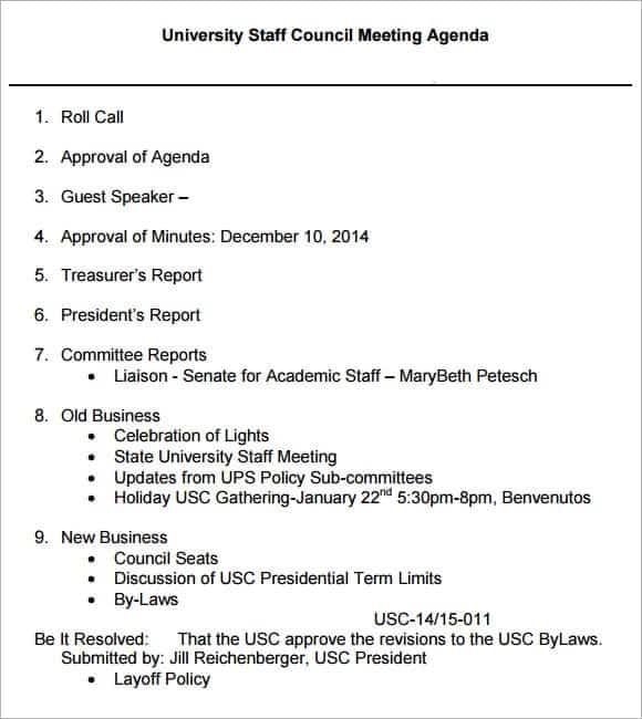 meeting agenda sample 17461