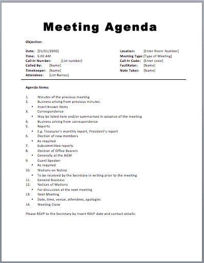 meeting agenda sample 594