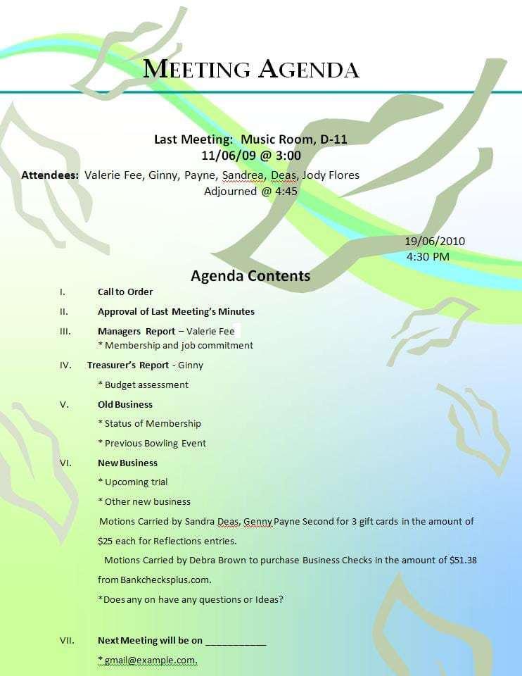 meeting agenda sample 6941