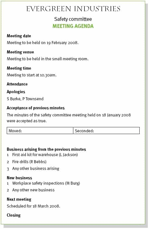 meeting agenda sample 8946